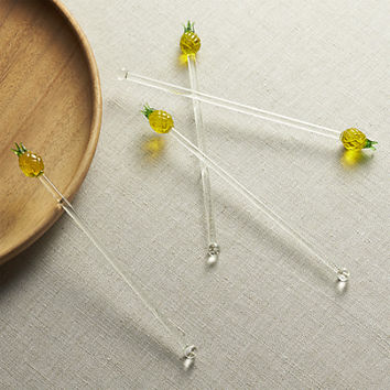 Pineapple Swizzle Sticks Set of Four