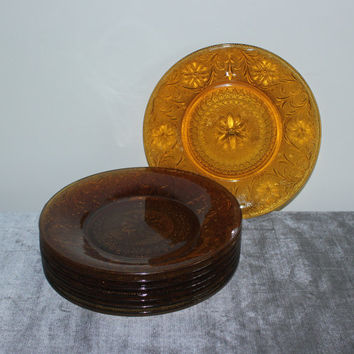 Indiana Glass Amber Sandwich Pattern Dinner Plates (Set of 4), amber dinnerware, vintage amber glass, vintage amber plates