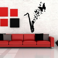 Wall Decor Vinyl Sticker Room Decal Art Tribal Soul Music Saxophone Butterflies 931