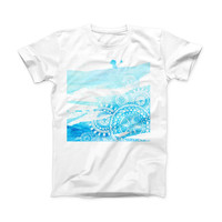 The Vivid Blue Abstract Washed ink-Fuzed Front Spot Graphic Unisex Soft-Fitted Tee Shirt
