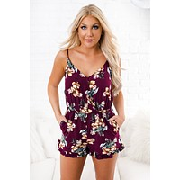Step Right Up Floral Romper (Fig)