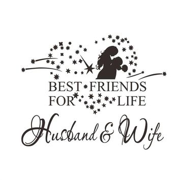 Best Friends for Life Husband and Wife Bedroom Love Marriage Family Relationship Romantic Couple Wall Quote Sticker Art Decoration Vinyl Decal Mural Graphic Lettering Decor Saying