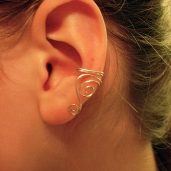 Pair Of Silver Plated Ear Cuffs With Swirls | Luulla