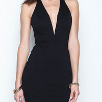 Black Bodycon Dress with Cross-Back Straps