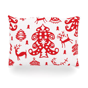 "Miranda Mol ""Frosted Landscape White"" Red Holiday Oblong Pillow"