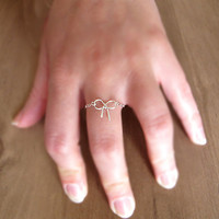 Sterling Silver Bow Ring - Chain Ribbon Ring - Valentine's Day Gift -  Knot Ring - Custom sized