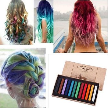 12 Colors Fast Temporary Pastel Hair DIY Salon Painting Extension Dye Chalk smt101