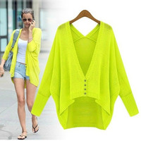 Spring Summer Korean Fashion Women Candy Color Long Batwing Sleeve Sweater Cardigans Ladies Loose Casual Cardigan Coat SW5805 = 1945779972