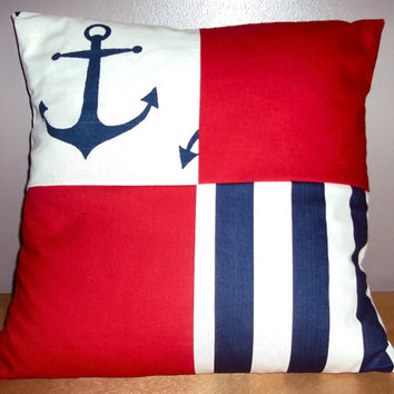 18x18 Navy Anchor Navy Stripe Solid Red Decorative Patchwork Color Block Pillow Cover