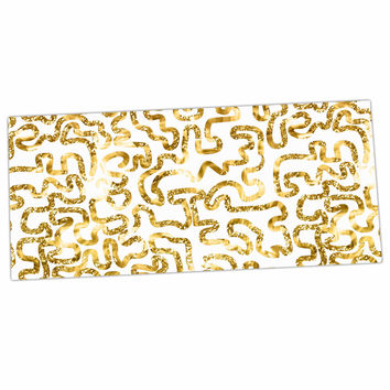 "Anneline Sophia ""Squiggles in Gold"" Yellow White Desk Mat"