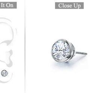 Mens Platinum : Bezel Set Round Diamond Stud Earring - 0.25 CT. TW.