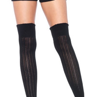 Black Wide Rib Thigh High Socks