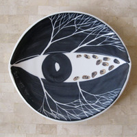 Mid Century Modern Korean Vintage Surreal Blue and White Eye Plate