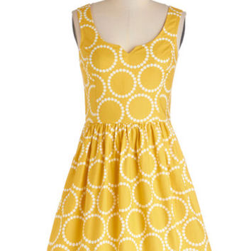 ModCloth Mid-length Tank top (2 thick straps) A-line Air of Adorable Dress in Dotted Gold