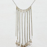 AEO Women's Feather & Fringe Necklace (Silver)