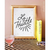 Le Hustle Art Print with Metallic Gold Dots