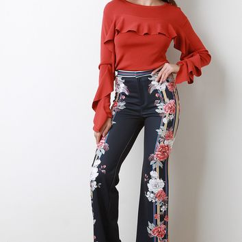 Mixed Print High Rise Bell Bottom Pants
