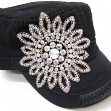 Olive & Pique Rhinestone Flower Design Cadet Military Style Cap Hat (Black)
