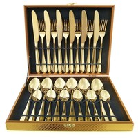 Regal Gold Stainless Steel 24-PC Service For 6 Flatware Party Gift SET