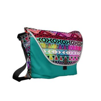 Pink Purple Bright Andes Abstract Aztec Pattern Messenger Bag from Zazzle.com