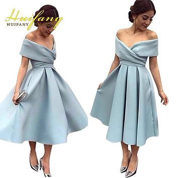 Elegant Satin Off the Shoulder Tea Length Women Formal Dresses Light Blue Simple A-line Short Prom Gowns Evening Party Dresses