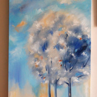 Original Landscape Oil Painting, Trees Oil Painting Art, Blue Peach, Oil on Canvas, Landscape, Abstract Modern Art