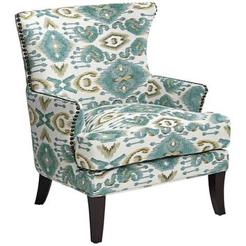 Nola Blue Diamond Patterned Wingback Accent Chair - #39G50 | Lamps Plus