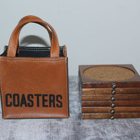 Vintage wood coasters in leather carry tote, coaster set, vintage coasters, drink accessories, barware