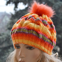 Rainow Knitted cap in fur pompom cap / hat lovely warm autumn accessories women clothing Knit Hat Womens