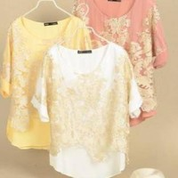 Gold Thread Embroidery Chiffon Tshirts
