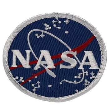 NASA Space Circular Logo Embroidered Iron On Patch - Blue