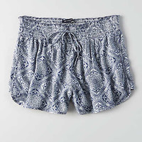 AEO Floral Runner Short, Blue