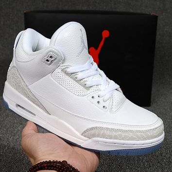 Air Jordan 3 Retro AJ 3 Pure White Sneakers - Best Deal Online