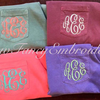 SALE!! Monogram Pocket Tee Shirt, Comfort Colors Long Sleeve Shirt, Comfort Colors Monogrammed Shirt, Comfort Colors Long Sleeve Pocket