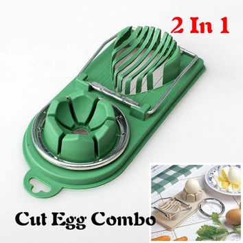 1 pcs 2 In 1 Egg Cutter Stainless Steel +ABS Colorful Egg Mold Slicer Multifunction Kitchen Egg Slicer Sectione Cutter Mold
