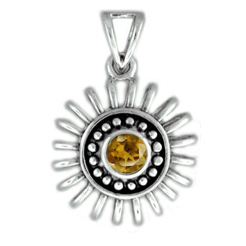Golden Yellow Citrine Pendant in Sterling Silver