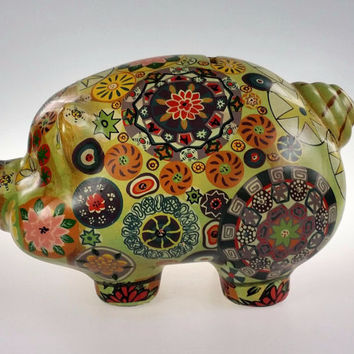 Large Ceramic Still Piggy Bank Vintage Hippie Hand Decorated Mandalas and Flowers Coin Bank