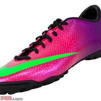 Nike Mercurial Victory IV Turf Soccer Shoes - Fireberry with Green - SoccerPro.com