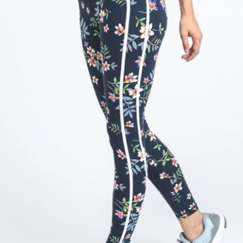 Double Striped High Waist Cherry Blossom Leggings