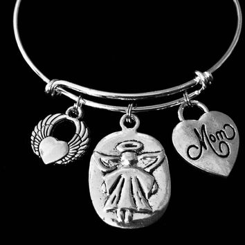 Mom Always With You Guardian Angel Jewelry Silver Expandable Charm Bracelet Adjustable Wire Bangle Angel Wings One Size Fits All Memorial Gift