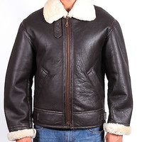B3 Ginger Aviator Men's Shearling Fur Bomber Flying Leather Jacket - Best Deal..