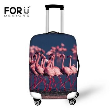 FORUDESIGNS Fashion Flamingo 3D Animal Luggage Protective Covers Thick Elastic with Zipper Protector for 18-30Inch Suitcase Case