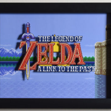 "The Legend of Zelda (SNES) - ""Title Screen"" 3D Video Game Shadow Box with Glass Frame"