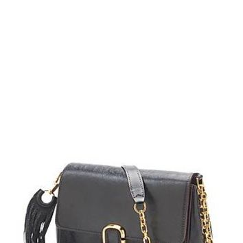 J, Marc. Leather Shoulder Bag with Gold Hardware- Marc Jacobs