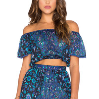 Spell & The Gypsy Collective Kiss The Sky Crop Top in Bluejay
