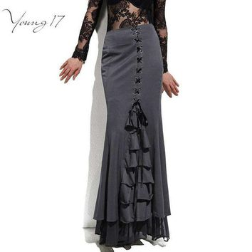 DCCKDZ2 Young17 Skirt Long Frilly Women Sexy Fishtail Corset Lace-Up Slim Floor-Length Vintage trumpet sexy gothic style Mermaid skirts