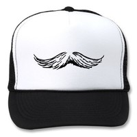 Mustache White Black The MUSEUM Zazzle Gifts Hat from Zazzle.com