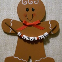 Wooden Gingerbread Man With Steeler Sign - Handmade in Pennsylvania