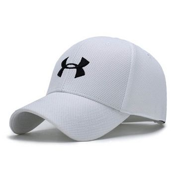 Under Armour Fashion New Embroidery Letter Sun Protection Women Men Cap Hat White