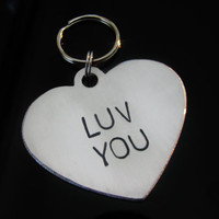 Key Fob Key Chain Hand Stamped LUV YOU Great Gift Idea for Loved One Hand stamped Heart Valentine's Gift